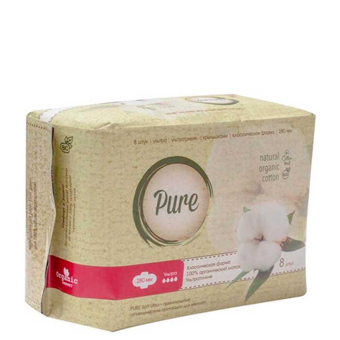Купить Гигиенические прокладки Pure Soft Ultra (28 см), Дневные ультратонкие дышащие органические прокладки 8 шт, Китай