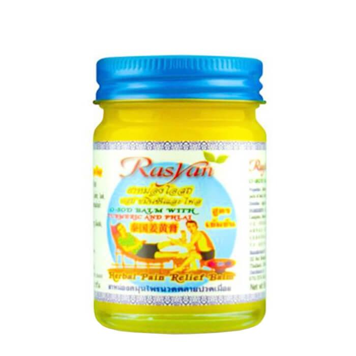 Купить Бальзам для тела Rasyan O-Sod Balm with Turmeric and Phai, Бальзам с куркумой согревающий желтый для растирания мышц и суставов, Таиланд