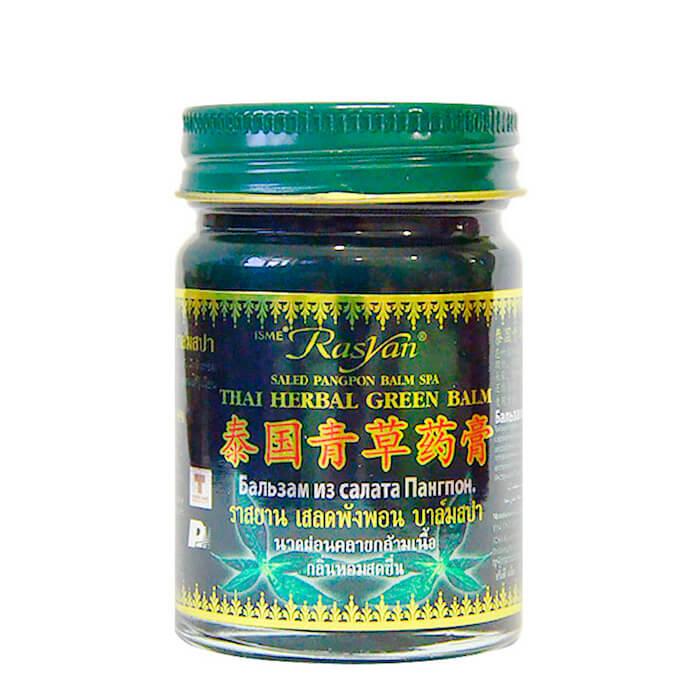 Купить Бальзам для тела Rasyan Saled Pangpon Balm SPA Thai Herbal Green Balm, Бальзам из салата Пангпон зеленый против боли, раздражений и укусов насекомых, Таиланд