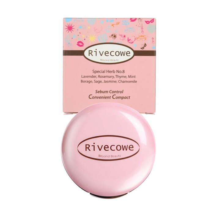 Пудра для лица Rivecowe Sebum Control Convenient Compact Бесцветная пудра для лица с эффектом легкого мерцания фото