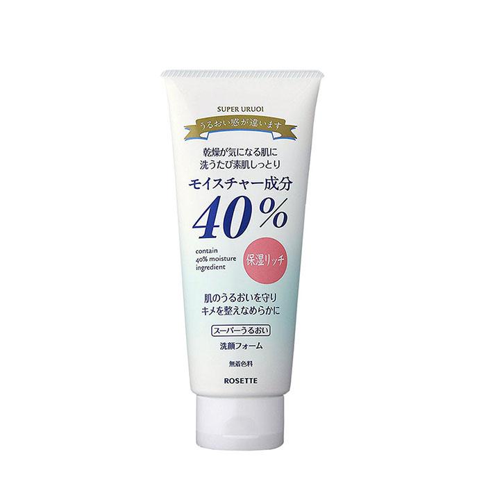 Купить Пенка для умывания Rosette 40% Super Uruoi Moisturizing Cleansing Foam, Пенка для умывания с растительными экстрактами и нежным ароматом белых цветов, Япония