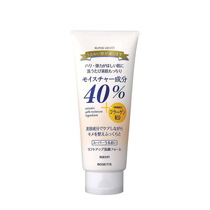Купить Пенка для умывания Rosette 40% Super Uruoi Lift Up Cleansing Foam, Интенсивно увлажняющая подтягивающая пенка для умывания с морским коллагеном, Япония