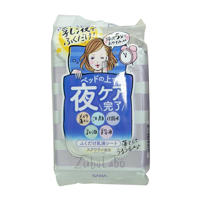Купить Влажные салфетки для лица Sana Zubolabo Night Toning Emulsion Sheet (35 шт.), Влажные салфетки с увлажняющим лосьоном для вечернего ухода за кожей лица, Япония