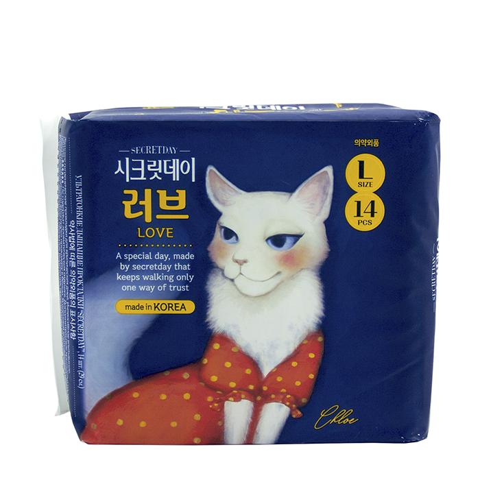 Купить Гигиенические прокладки Secret Day Ultra Slim Large 28 см, Гигиенические ультратонкие дышащие органические прокладки 14 шт, Южная Корея