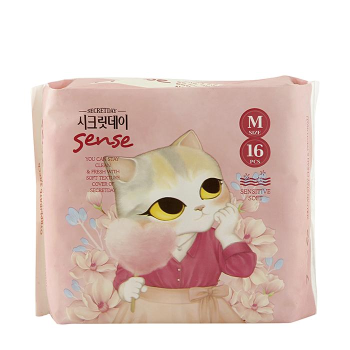 Купить Гигиенические прокладки Secret Day Sense Medium 24 см, Гигиенические ультратонкие дышащие органические прокладки 12 шт, Южная Корея