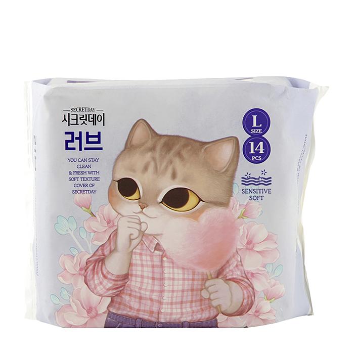 Купить Гигиенические прокладки Secret Day Sense Large 28 см, Гигиенические ультратонкие дышащие органические прокладки 10 шт, Южная Корея