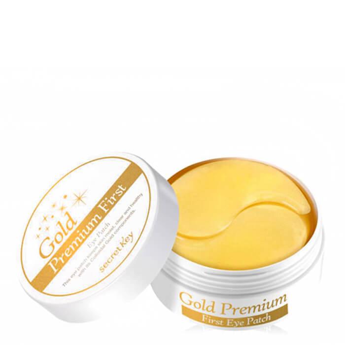 Купить Патчи для глаз Secret Key Gold Premium First Eye Patch, Гидрогелевые патчи для кожи вокруг глаз с микрочастицами золота, Южная Корея