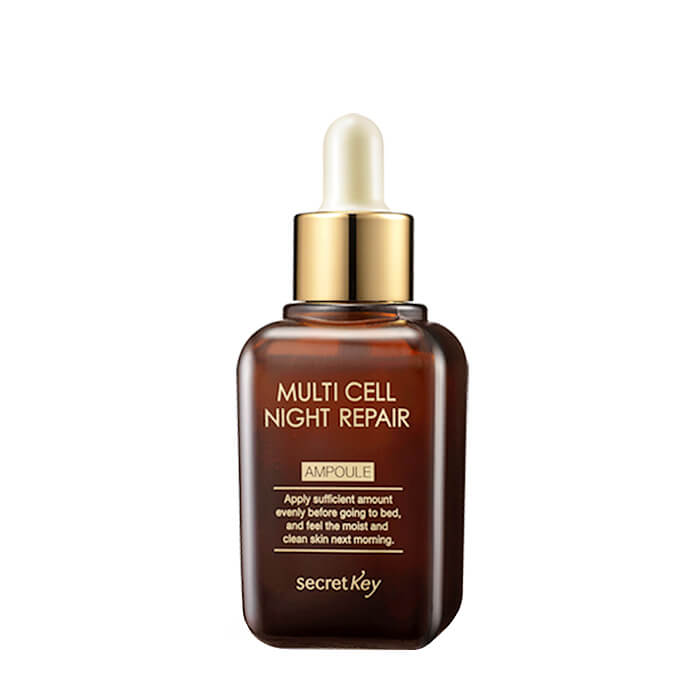 Купить Сыворотка для лица Secret Key Multi Cell Night Repair Ampoule, Восстанавливающая ночная сыворотка для кожи лица с фитостволовыми клетками, Южная Корея