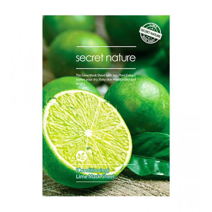 Купить Тканевая маска Secret Nature Conditioning Lime Mask Sheet, Бодрящая тканевая маска для лица с экстрактом лайма, Южная Корея