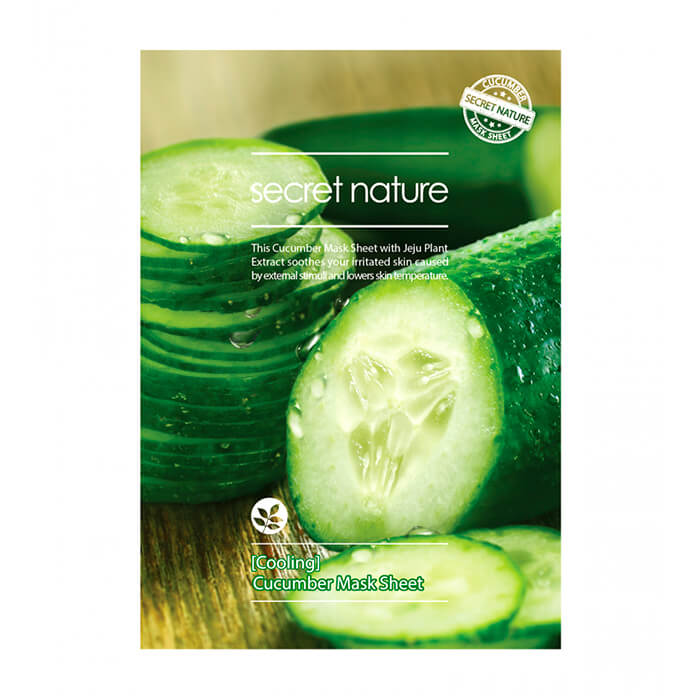 Купить Тканевая маска Secret Nature Cooling Cucumber Mask Sheet, Освежающая тканевая маска для лица с экстрактом огурца, Южная Корея