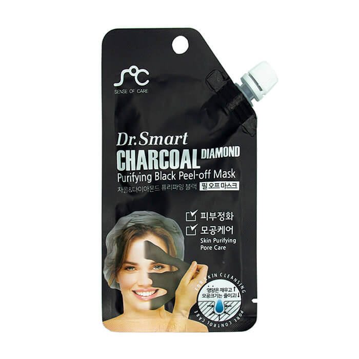 Купить Маска-плёнка Sense of Care Dr.Smart Charcoal Diamond Purifying Black Peel-Off Mask, Маска-плёнка с древесным углем для очищения и балансирования кожи лица, Южная Корея