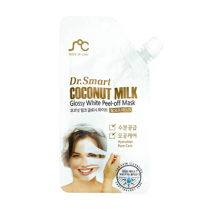 Купить Маска-плёнка Sense of Care Dr.Smart Coconut Milk Glossy White Peel-Off Mask, Маска-плёнка с кокосовым молоком для ровного тона и здорового цвета лица, Южная Корея