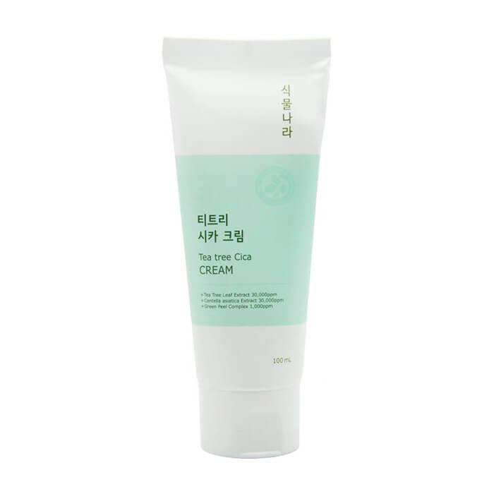 Купить Крем для лица Shingmulnara Tea Tree Cica Cream, Крем для снятия раздражения кожи лица с экстрактами чайного дерева и центеллы азиатской, Южная Корея