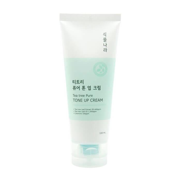 Купить Крем для лица Shingmulnara Tea Tree Pure Tone Up Cream, Крем для увлажнения и выравнивания тона кожи лица с экстрактом чайного дерева, Южная Корея