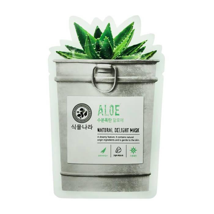 Тканевая маска Shingmulnara Aloe Natural Delight Mask Супертонкая тканевая маска для снятия раздражения кожи лица с соком алоэ вера фото