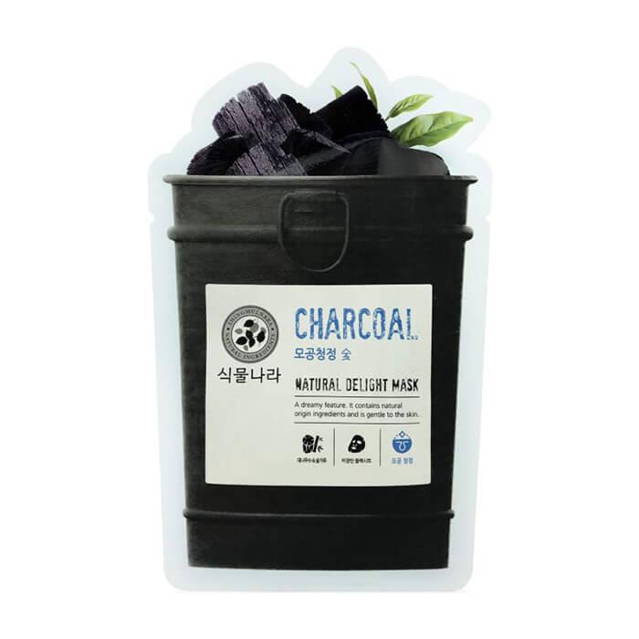 Купить Тканевая маска Shingmulnara Charcoal Natural Delight Mask, Супертонкая тканевая маска для очищения кожи лица с древесным углем, Южная Корея