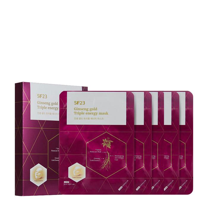 Купить Набор тканевых масок Skin Factory SF23 Ginseng Gold Triple Energy Mask (5 шт.), Премиальные энергетические антивозрастные маски с женьшенем и золотом, Южная Корея