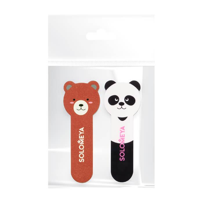 Купить Набор пилок для ногтей Solomeya Little Bear Nail File 180/220 & Little Panda Shiner #400/3000, Двухсторонняя пилка и полировщик в удобном мини-формате, Великобритания