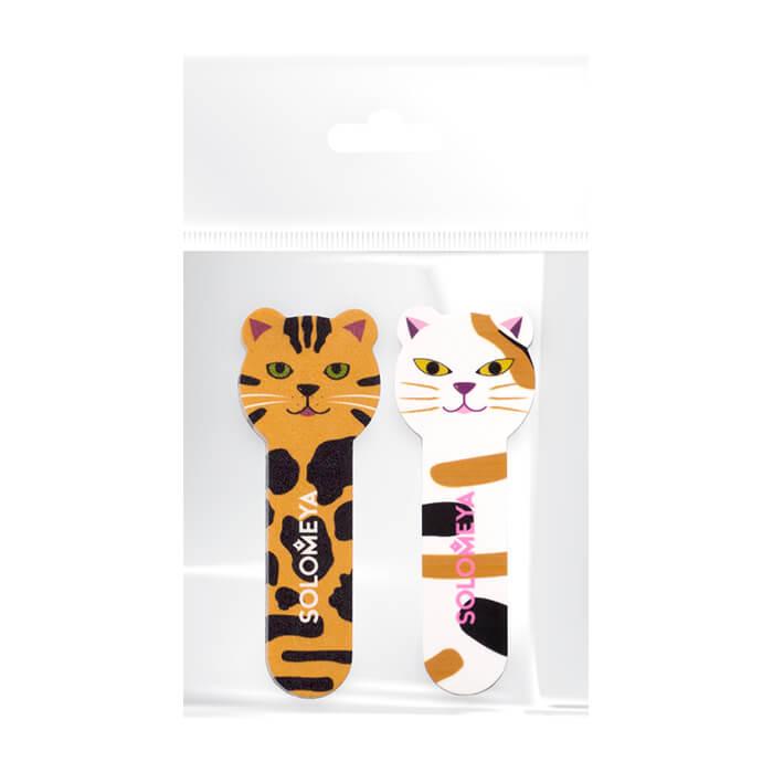 Купить Набор пилок для ногтей Solomeya Tiger Nail File 180/220 & Kitty Shiner #400/3000, Двухсторонняя пилка и полировщик в удобном мини-формате, Великобритания
