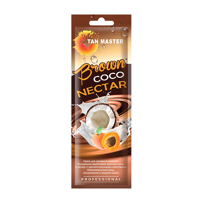 Купить Крем для загара в солярии Tan Master Brown Coco Nectar (15 мл), Нежный крем для ускорения проявления загара с ароматом кокоса, Россия