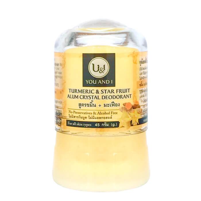 Купить Дезодорант кристалл You & I Alum Crystal Deodorant - Turmeric & Star Fruit, Минеральный дезодорант-кристалл с ароматом куркумы, Thai House of Nature, Таиланд