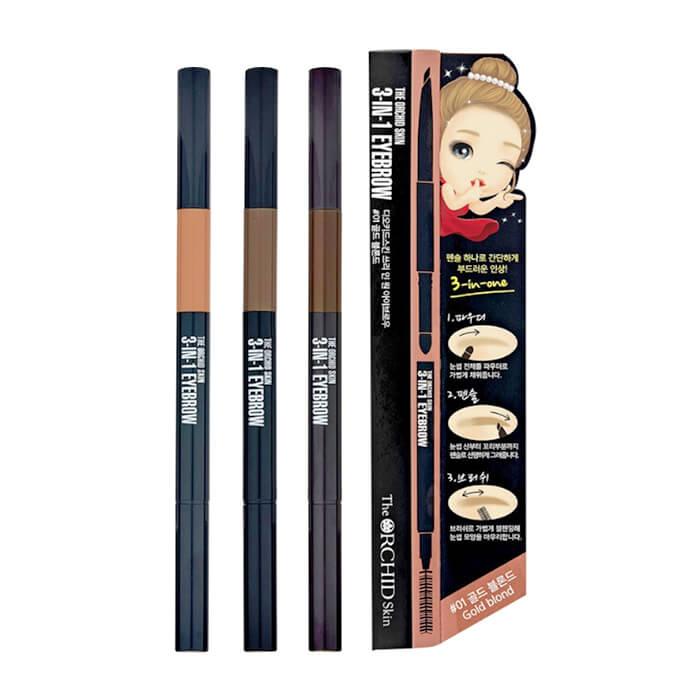 Купить Тени-карандаш для бровей The Orchid Skin 3 In 1 Eyebrow, Универсальное средство 3 в 1 для оформления бровей, Южная Корея