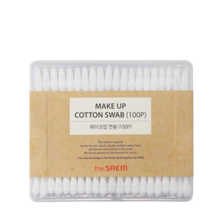 Купить Ватные палочки The Saem Makeup Cotton Swab, Косметические палочки для макияжа из натурального хлопка (100 шт.), Южная Корея