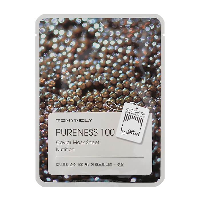 Купить Тканевая маска Tony Moly Pureness 100 Caviar Mask Sheet, Антивозрастная тканевая маска для лица с экстрактом чёрной икры, Южная Корея
