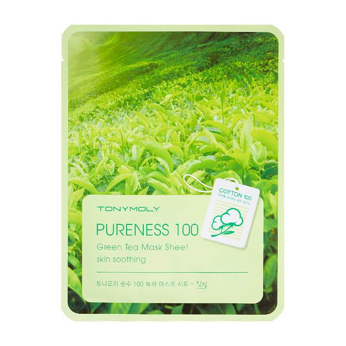 Купить Тканевая маска Tony Moly Pureness 100 Green Tea Mask Sheet, Успокаивающая тканевая маска для лица с экстрактом зелёного чая, Южная Корея