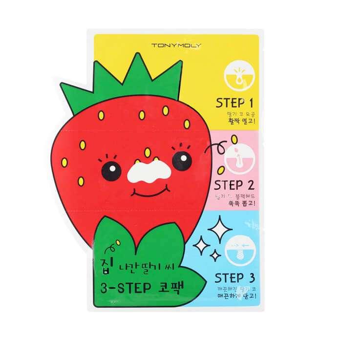 Купить Набор от чёрных точек Tony Moly Homeless Strawberry Seeds 3-step Nose Pack, 3-х ступенчатая система для глубокого очищения пор, Южная Корея