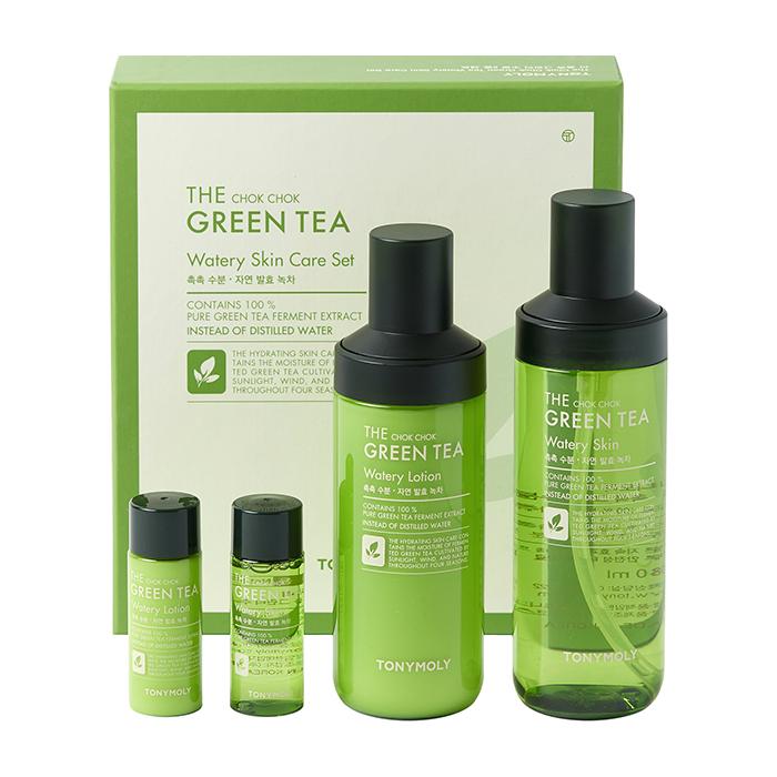 Купить Набор для лица Tony Moly The Chok Chok Green Tea Watery Skin Care Set, Набор из тонера и лосьона для кожи лица на основе ферментированного экстракта зелёного чая, Южная Корея