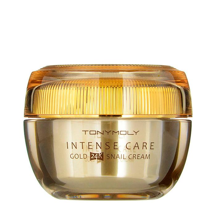 Купить Крем для лица Tony Moly Intense Care Gold 24K Snail Cream, Крем для восстановления жизненной силы кожи лица с муцином улитки и коллоидным золотом, Южная Корея