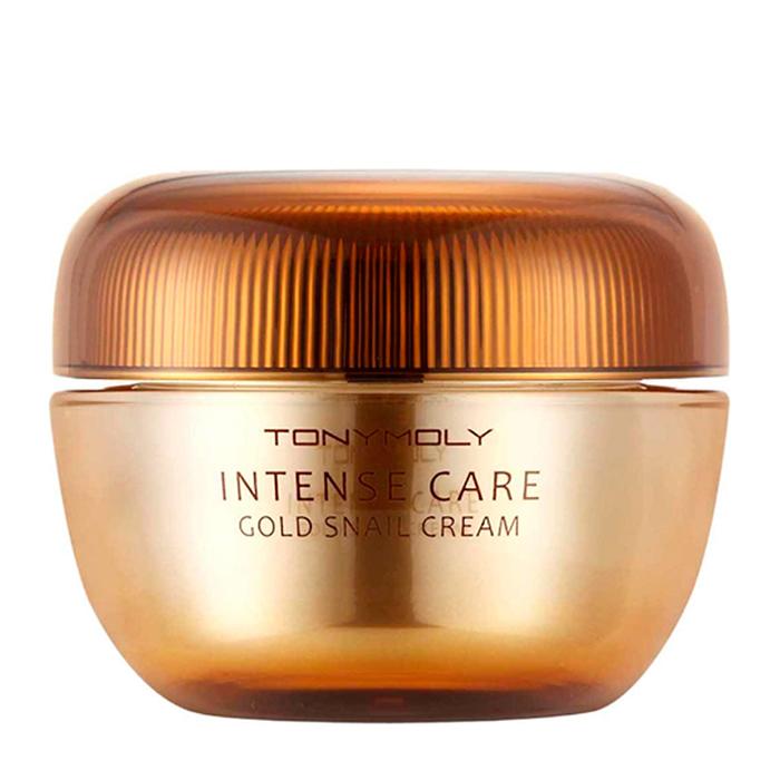 Купить Крем для лица Tony Moly Intense Care Gold Snail Cream, Премиальный крем для борьбы с признаками старения кожи лица с муцином улитки и коллоидным золотом, Южная Корея