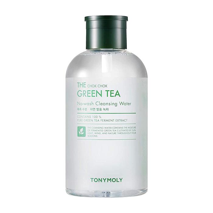 Купить Очищающая вода Tony Moly The Chok Chok Green Tea No-wash Cleansing Water (700 мл), Мицеллярная вода для снятия макияжа с кожи лица с экстрактом зелёного чая, Южная Корея