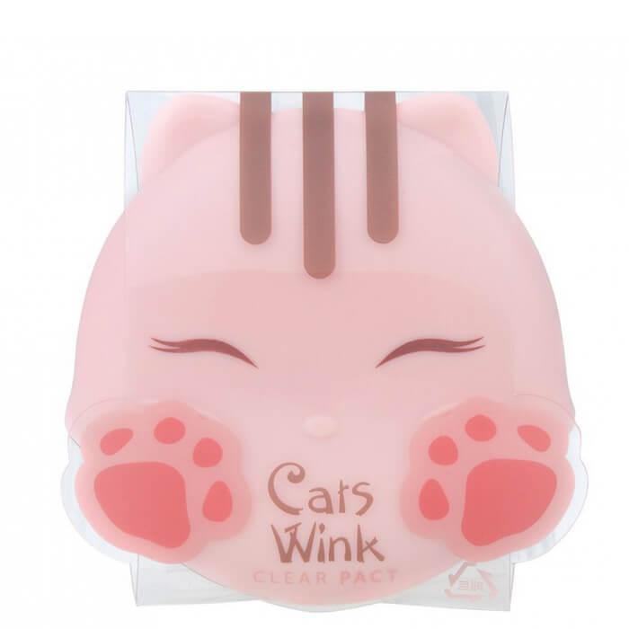 Купить Пудра для лица Tony Moly Cat's Wink Clear Pact, Стойкая матирующая пудра в милом компактном корпусе, Южная Корея