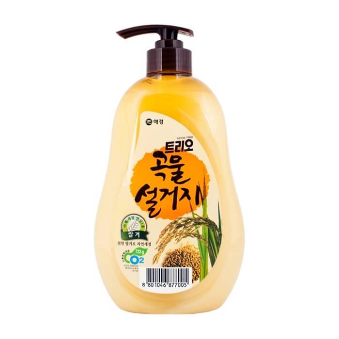 Купить Средство для мытья посуды Trio Rice Bran, Средство высшей категории для мытья посуды и овощей с экстрактом рисовых отрубей, Южная Корея