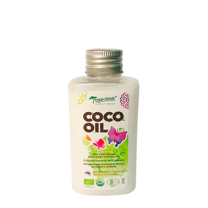Купить Кокосовое масло Tropicana Organic Cold Pressed Virgin Coconut Oil 100% (120 мл), 100% натуральное кокосовое масло первого холодного отжима, Таиланд