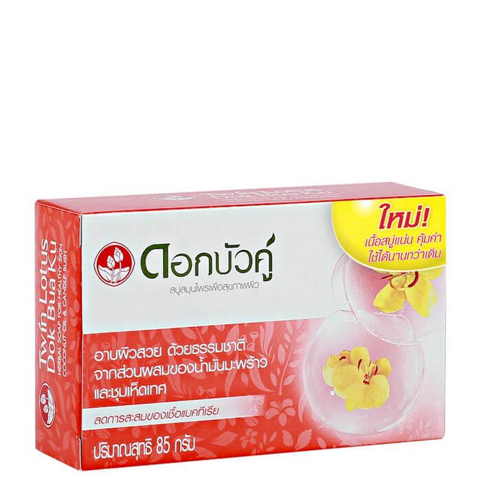 Купить Мыло Twin Lotus Coconut Oil & Candle Bush Soap, Твердое натуральное мыло для тела с кокосовым маслом и кассией крылатой, Таиланд