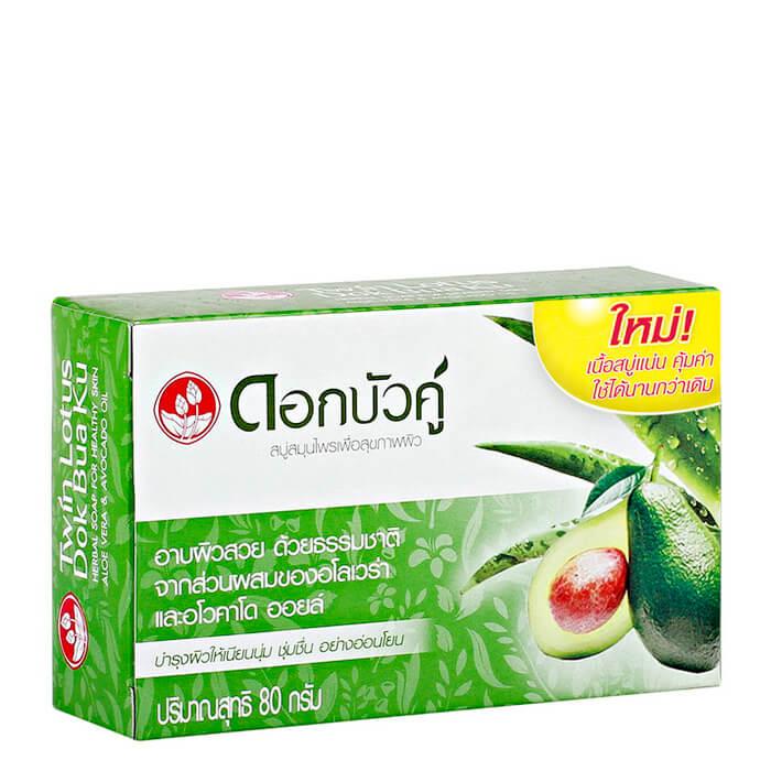 Купить Мыло Twin Lotus Herbal Soap Aloe Vera & Avocado, Твердое натуральное мыло для тела с травами, алоэ вера и авокадо, Таиланд