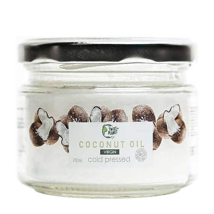 Купить Кокосовое масло Twist The Planet Cold Pressed Coconut Oil (250 мл), 100% натуральное органическое кокосовое масло холодного отжима, Россия