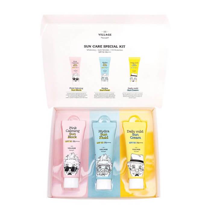 Купить Набор солнцезащитных кремов Village 11 Factory Sun Care Special Kit, Набор солнцезащитных средств с экстрактом корня когтя дьявола, Южная Корея