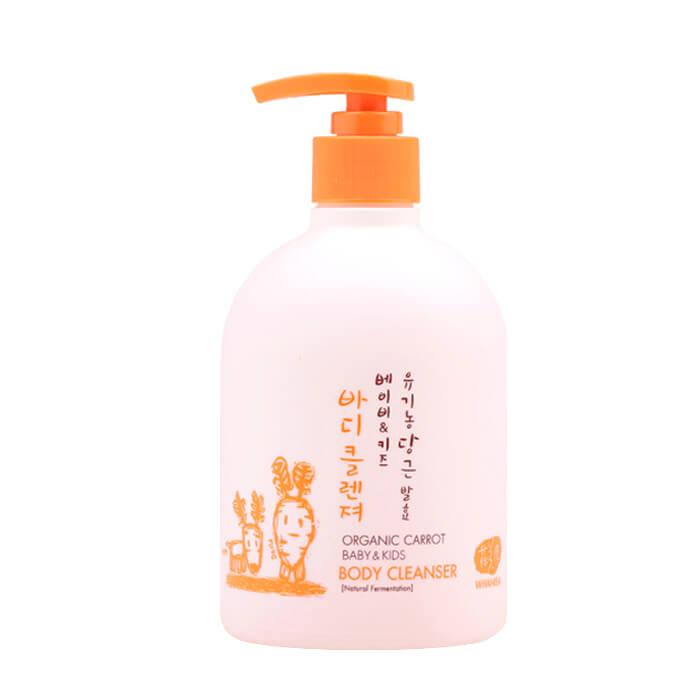 Купить Детский гель для купания Whamisa Organic Carrot Baby & Kids Body Cleanser, Детский гель для купания на основе кокосового масла и ферментов моркови, Южная Корея