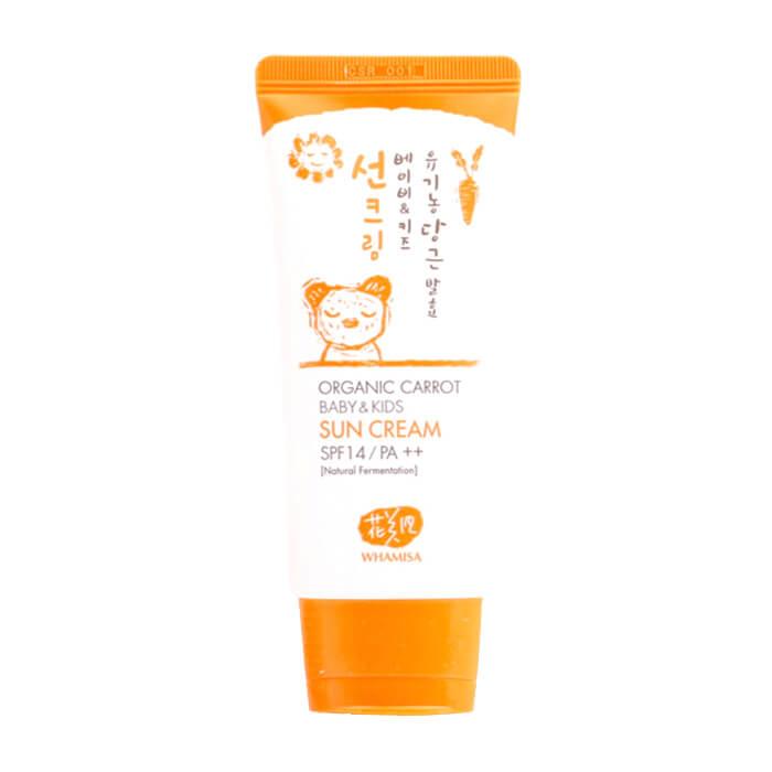 Детский солнцезащитный крем Whamisa Organic Carrot Baby & Kids Sun Cream (SPF 14), Крем для защиты нежной детской кожи от УФ-излучения на основе ферментов моркови, Южная Корея  - Купить