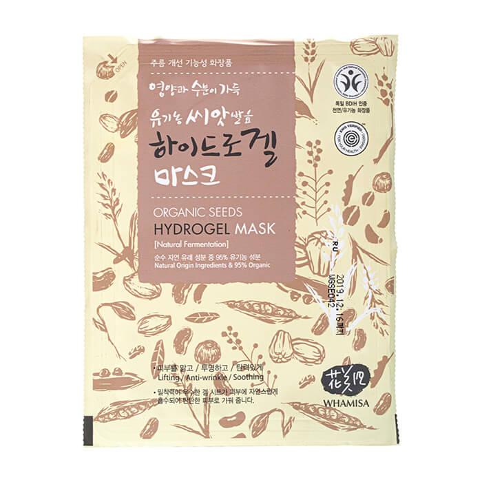 Купить Гидрогелевая маска Whamisa Organic Seeds Hydrogel Mask (новый дизайн), Маска для повышения упругости кожи лица на основе ферментов семян растений, Южная Корея
