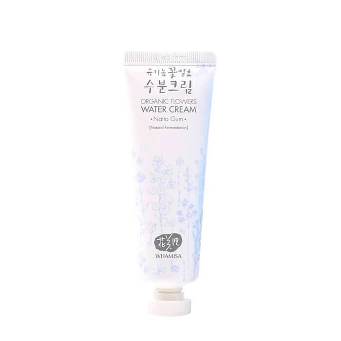 Купить Крем для лица Whamisa Organic Flowers Water Cream Natto Gum, Легкий увлажняющий крем для кожи лица на основе пептидов и цветочных ферментов, Южная Корея