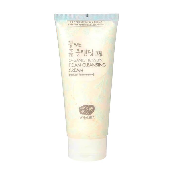 Купить Очищающий крем Whamisa Organic Flowers Foam Cleansing Cream, Пенящийся крем для умывания на основе цветочных ферментов, Южная Корея