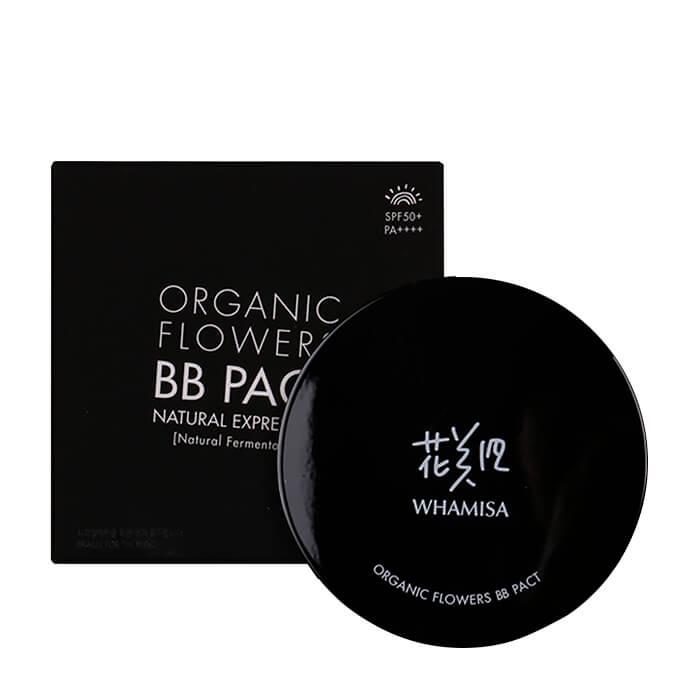 Купить ВВ кушон Whamisa Organic Flowers BB Pact, Тональный BB крем в кушоне с ферментами органических цветов, Южная Корея