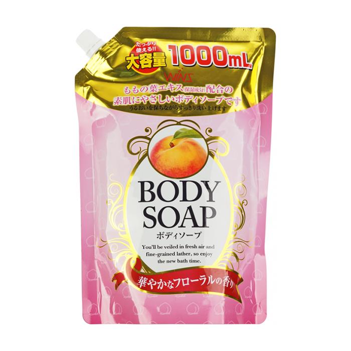 Купить Гель для душа Wins Peach Body Soap (400 мл), Нежный увлажняющий гель для душа с натуральным экстрактом листьев персика, Япония