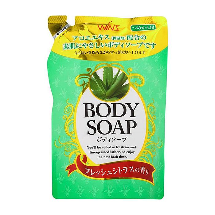 Купить Гель для душа Wins Aloe Body Soap (400 мл), Нежный увлажняющий гель для душа с натуральным экстрактом алоэ, Япония