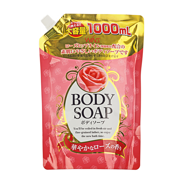 Купить Гель для душа Wins Rose Body Soap (400 мл), Нежный увлажняющий гель для душа с натуральным экстрактом розы, Япония
